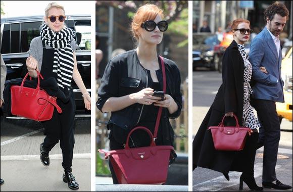 Jessica Chastain And Emma Roberts Wearing The Longchamp Le Pliage Heritage Their New Favorite Handbag Ubai