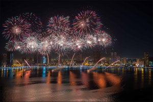 Al Majaz Waterfront's Spectacular Display  Lights up the Skies for 2018