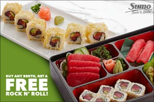 Get a Complimentary Sushi Roll on Any Bento Box at Sumo Sushi & Bento