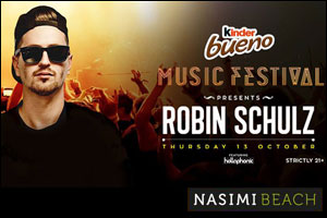 Robin Schulz headlining the Kinder Bueno Music Festival at Nasimi Beach